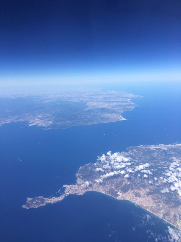 cieśnina gibraltarska widok z samolotu