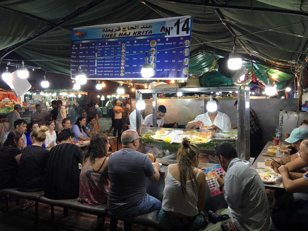 Marrakesz jedzenie nocą